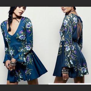 Free People dark blue floral bell sleeve dress